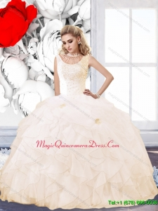 Puffy 2015 Champagne Quinceanera Dress with Beading and Ruffles