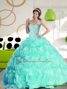 Puffy 2015 Sweetheart Quinceanera Dresses with Beading and Rolling Flowers