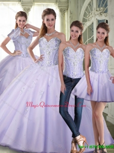 Puffy Ball Gown Sweetheart Lavender Quinceanera Dresses with Beading