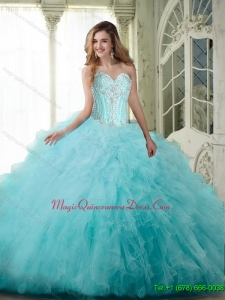Puffy Ball Gown Sweetheart Quinceanera Dresses with Beading and Ruffles