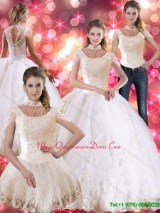 Puffy Laceed and Beaded Quinceanera Dress with Cap Sleeves
