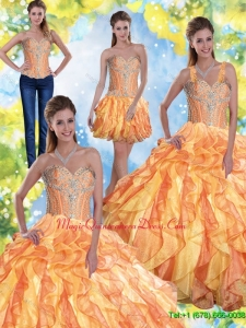 Puffy Quinceanera Dresses with Beading and Ruffles in Multi Color