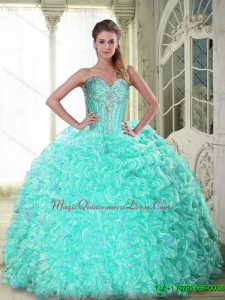 Puffy Sweetheart Brush Train Apple Green Quinceanera Dresses with Beading