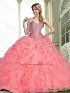 Romantic 2015 Quinceanera Dresses with Beading in Watermelon