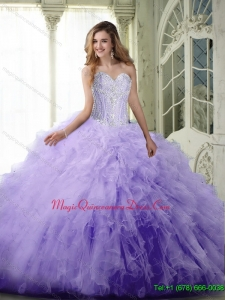 Romantic Ball Gown Sweetheart Lavender Quinceanera Dresses with Beading and Ruffles
