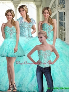 Romantic Ball Gown Sweetheart Quinceanera Dresses with Ruffles and Beading