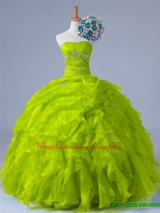 2015 Custom Made Strapless Quinceanera Dresses with Beading and Ruffles for Winter