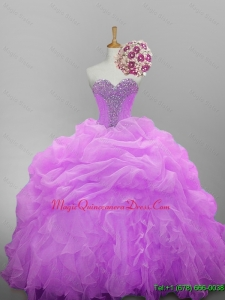 2015 Custom Made Sweetheart Quinceanera Dresses with Beading and Ruffled Layers