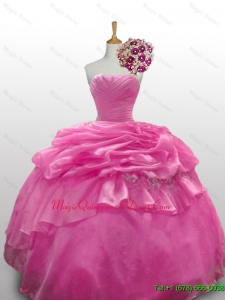 2015 Custom Made Sweetheart Rose Pink Quinceanera Dresses with Paillette