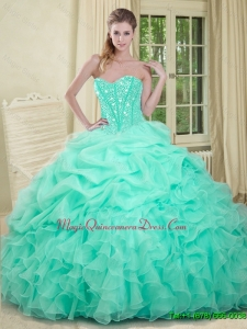 2016 Elegant Apple Green Quinceanera Dresses with Beading and Ruffles