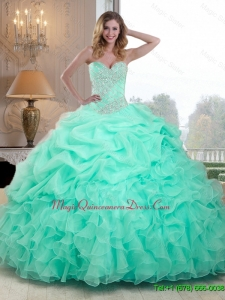 2016 Pretty Beaded and Ruffles Quinceanera Dresses in Apple Green