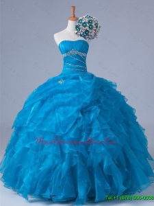 Custom Made Beading and Ruffles Strapless Quinceanera Dresses for 2015