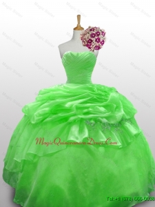 Custom Made Strapless Beading Quinceanera Dresses in Spring Green