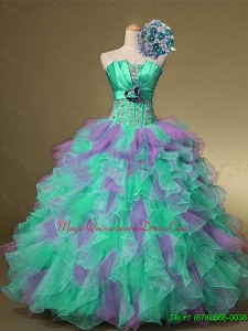 2015 Fast Delivery Strapless Quinceanera Dresses with Beading and Ruffles for Fall