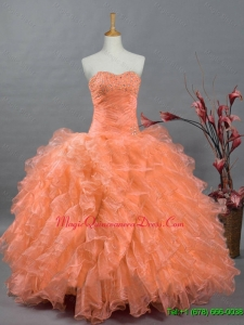 2015 Fast Delivery Sweetheart Quinceanera Dresses with Beading and Ruffles