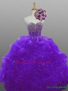 2015 In Stock Beaded Quinceanera Dresses with Rolling Flowers