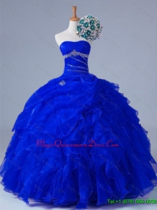 2015 In Stock Strapless Beaded and Ruffles Quinceanera Dresses in Organza