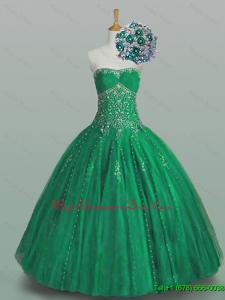 In Stock 2015 Ball Gown Beaded Green Quinceanera Dresses with Appliques