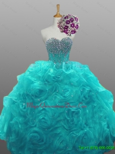 In Stock Sweetheart Beaded Quinceanera Dresses with Rolling Flowers