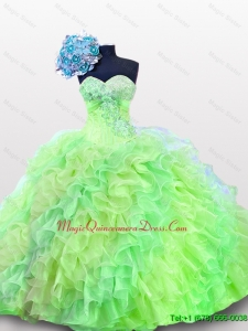 2015 Fast Delivery Quinceanera Dresses with Sequins and Ruffles