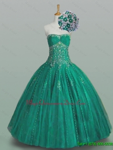 2015 Fast Delivery Strapless Quinceanera Dresses with Beading and Appliques