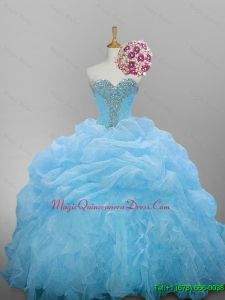 2015 Fast Delivery Sweetheart Quinceanera Dresses with Beading and Ruffled Layers