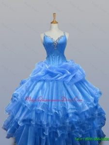 Fast Delivery Beaded Quinceanera Dresses with Ruffled Layers for 2015