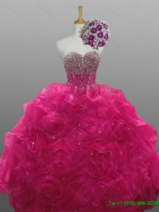 Fast Delivery Beading and Rolling Flowers Sweetheart Quinceanera Dresses for 2015
