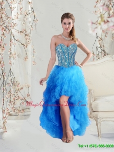 2016 Sophisticated High Low Sweetheart and Beaded Teal Dama Dresses