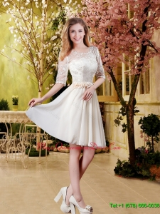 Affordable Champagne 2016 Dama Dresses with Lace and Belt