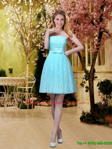 Elegant A Line Laced Dama Dresses with Belt in Aqua Blue