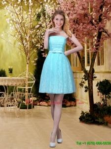 Elegant A Line Laced Dama Dresses with Belt in Aqua Blue