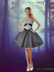 Wonderful Sweetheart Appliques Dama Dresses with Mini Length in Grey