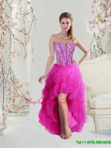 Affordable High Low Sweetheart Fuchsia Dama Dresses with Beading and Ruffles