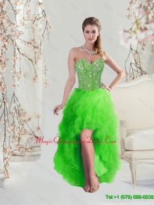 Affordable High Low Sweetheart Spring Green Dama Dresses with Beading