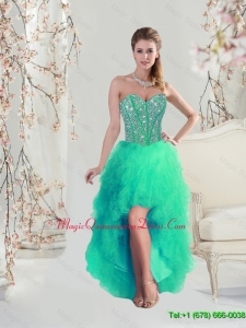 Discount High Low Beaded and Ruffles Apple Green Dama Dresses for 2015