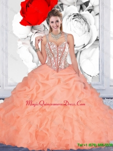2016 Elegant Orange Ball Gown Straps Quinceanera Dresses with Beading