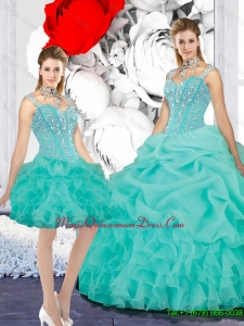 2016 Elegant Straps Ball Gown Detachable Quinceanera Dresses in Turquoise