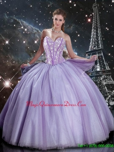 2016 Suitable Sweetheart Lavender Tulle Sweet 16 Dresses with Beading