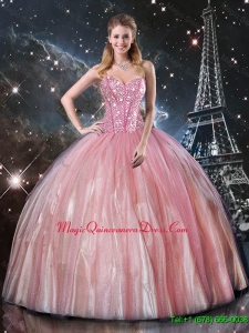 Affordable Ball Gown Sweetheart Beaded 2016 Quinceanera Dresses in Pink