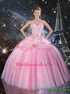 Feminine Rose Pink Sweet 16 Dresses with Beading and Bowknot