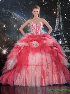 Custom Made Beaded Ball Gown Quinceanera Dresses with Brush Train