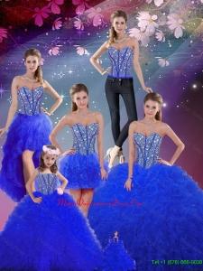 Modern Beaded and Ruffles Sweetheart Wonderful Sweet 16 Dresses in Royal Blue
