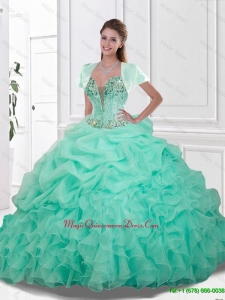 2016 Spring Pretty Sweetheart Quinceanera Gowns with Beading and Ruffles