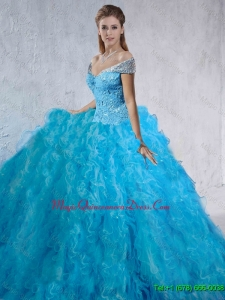 2016 Summer Fashionable Beaded and Laced Quinceanera Gowns with Brush Train