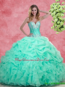 2016 Summer Hot Sale Apple Green Quinceanera Dresses with Beading and Ruffles