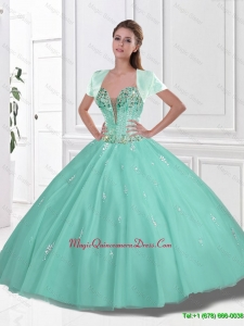 2016 Summer New Style Sweetheart Beaded Quinceanera Gowns in Apple Green