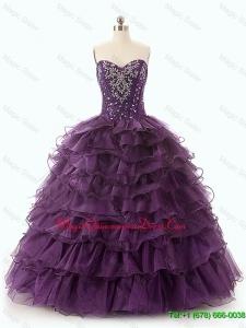 2016 Beautiful Dark Purple Quinceanera Dresses with Ruffled Layers