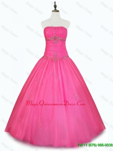 2016 Cheap Strapless Hot Pink Quinceanera Dresses with Beading