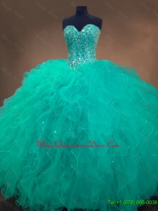 2016 Cheap Sweetheart Ball Gown Sweet 16 Dresses in Turquoise